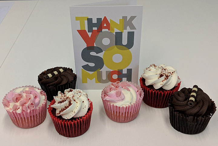 thank you card and cupcakes